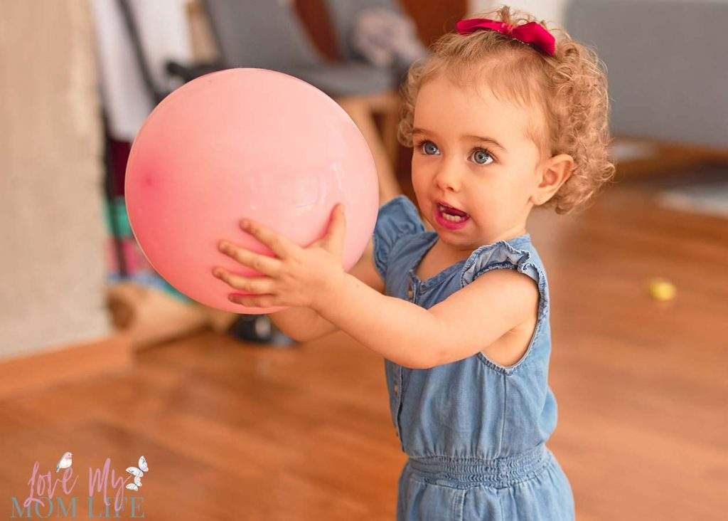 Toddler Indoor Games - playing the balloon game