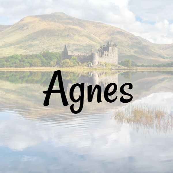 Scottish Girl Name - Agnes on picture Scottish landscape with a castle and lake.