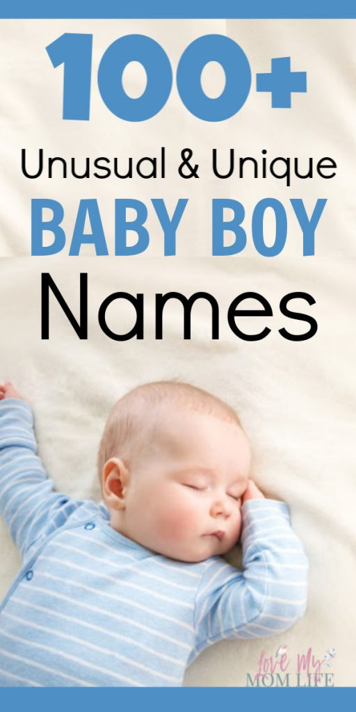 Pinterest Image with baby boy sleeping and the words 100+ Unusual & Unique Baby Boy Names