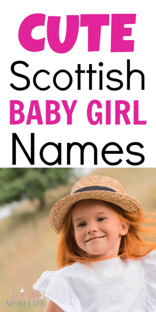 """""""Cute Scottish Baby Girl Names"""" written on top of image with a picture of a cute girl with reddish hear in a straw hat smiling at the camera."""