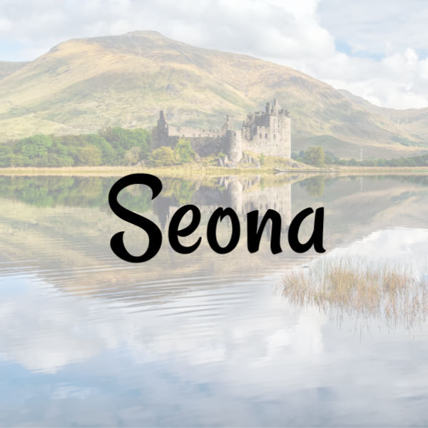 """Girl name """"Seona"""" on top of Scottish lake and castle background"""