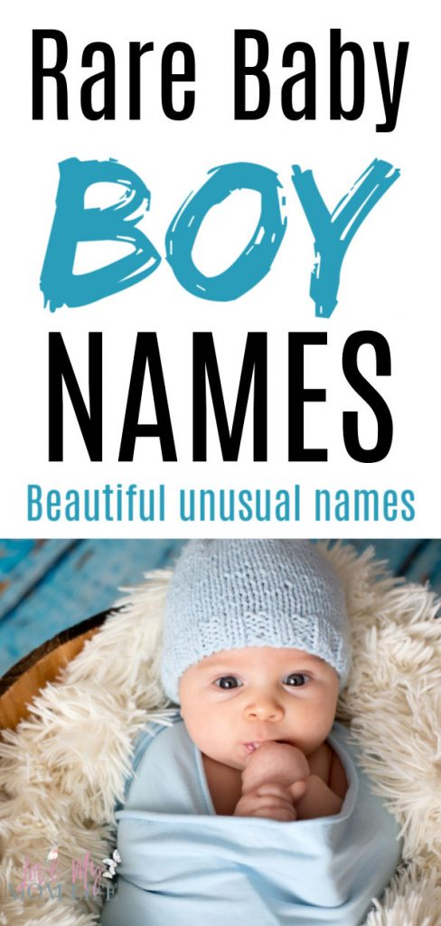 "Pinterest image with ""Rare Baby Boy Names - Beautiful unusual names"" written on the top and a pic of a baby waddled in a blue blanket and with a blue knit hat."
