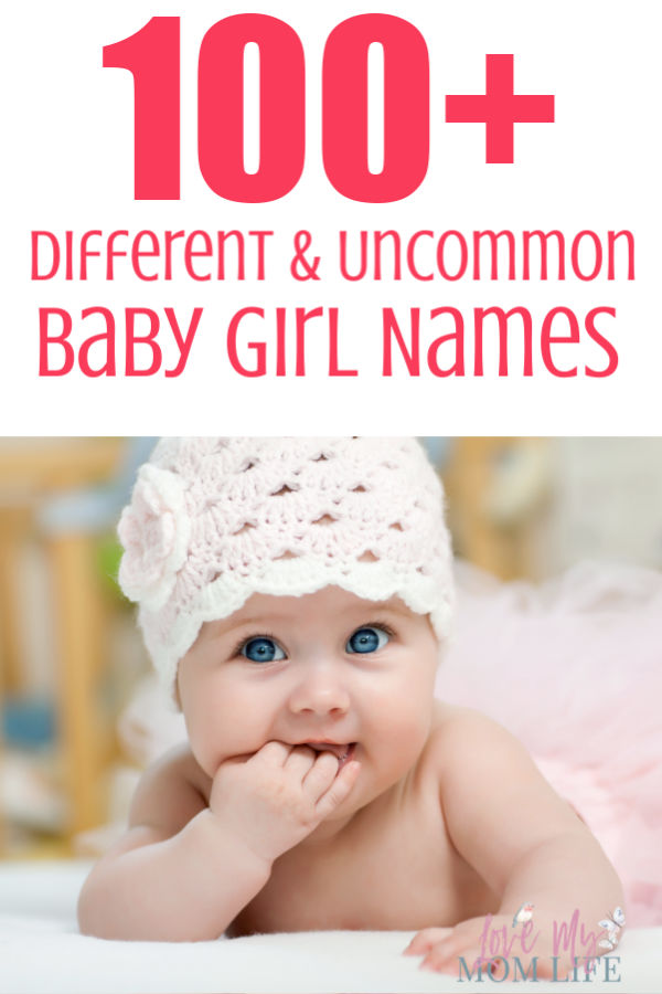 Pinterest image with 100+ different and uncommon baby girl names written in pink at the top and a picture of a baby in a crocheted hat on the bottom.