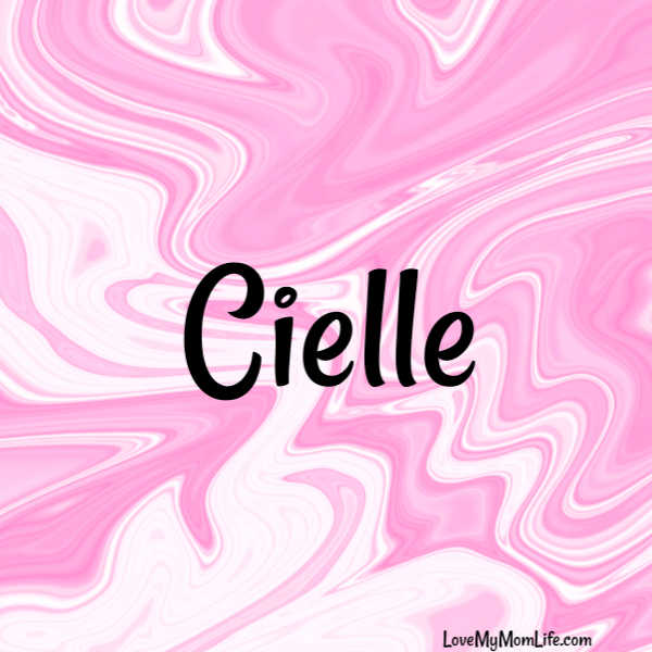 "A square image with a pink and white marbled background and ""Cielle"" written in black"