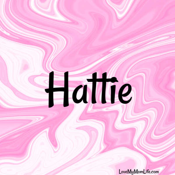 "A square image with a pink and white marbled background and ""Hattie"" written in black"