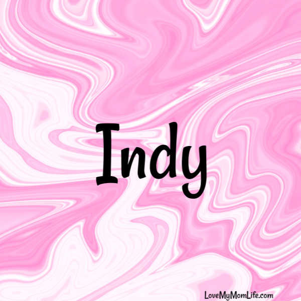 "A square image with a pink and white marbled background and ""Indy"" written in black"