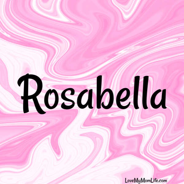 "A square image with a pink and white marbled background and ""Rosabella"" written in black"