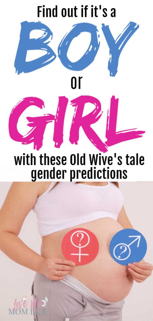 Pinterest pin- top of the pin says Find out if it's a boy or girl with these old wive's tale gender prediction.  Bottom has a picture of a pregnant woman holding one pink circle with girl sign and one boy circle with a boy sign.