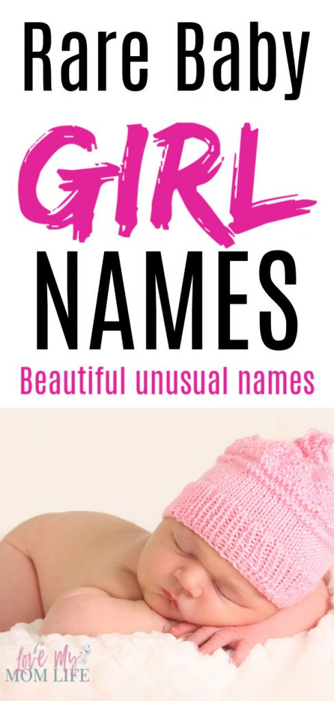 Rare Baby Girl Names - beautiful unusual names at the top and a picture of a sleeping baby in a pink knit hat on the bottom.